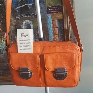 fossil leather Orange crossbody bag